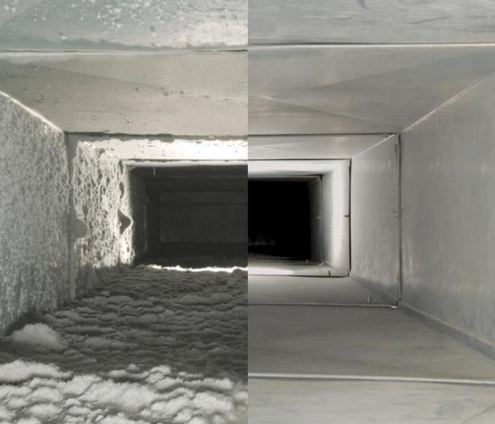 Air duct before cleaning versus after cleaning.